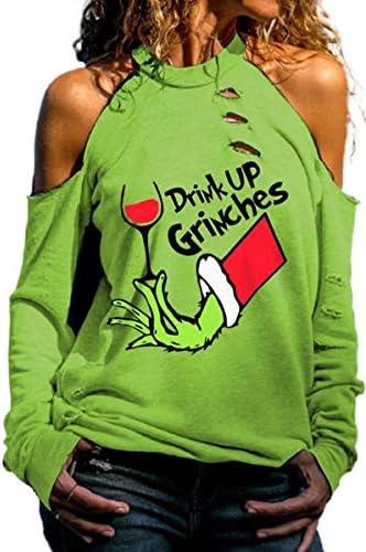 Aluo Grinch Women's Long-Sleeved Shirt, Women's Sweatshirt with Pleated top, Off-Shoulder Cold Shoulder Sweatshirt