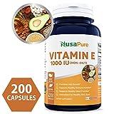 Vitamin E 1000 IU 200 Capsules (Non-Oily, Non-GMO & Gluten Free) - Mixed D-Alpha Tocopherol - Antioxidant for Healthy Skin, Eyes & Hair - Powder Caps Larger Image