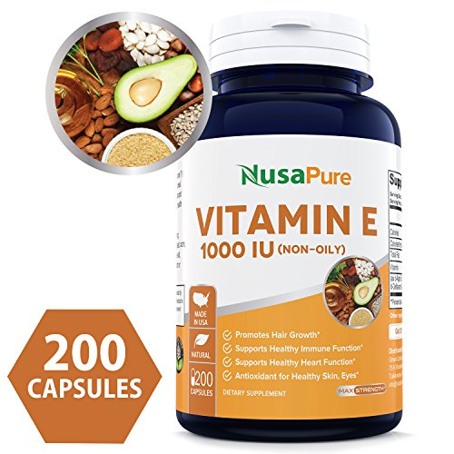 Best Vitamin E 1000 IU 200 Capsules (Non-Oily, Non-GMO & Gluten Free) - Mixed D-Alpha Tocopherol - Antioxidant for Healthy Skin, Eyes & Hair - Powder Caps - 100% Money Back Guarantee!
