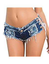HNFYJQ Pantalones Cortos de Mezclilla de Las Mujeres Moda Sexy Cut Off Cintura Baja elástica Mini Hot Jeans Short Skinny Summer Night Club Hot Shorts,Blue,S