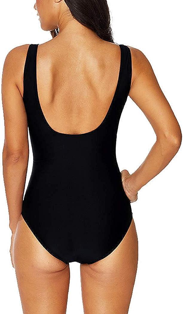 Leslady Damen Badeanzug mit Tiefem V-Ausschnitt Figurformender Gro/ße Gr/ö/ße Einteiliger Schwimmanzug f/ür Bauchweg