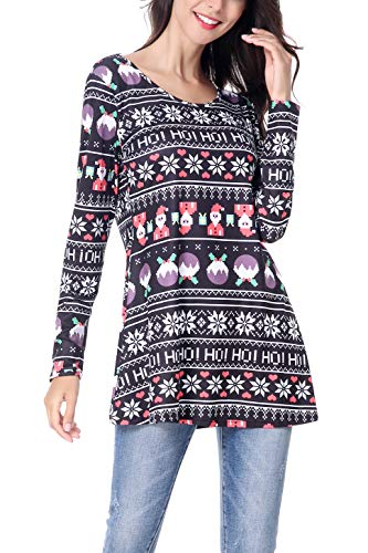 045910a3736d6 Women s Long Sleeve Christmas Santa Claus Print Pullover Flared Cocktail A  Line Party Tunic Dress Winter