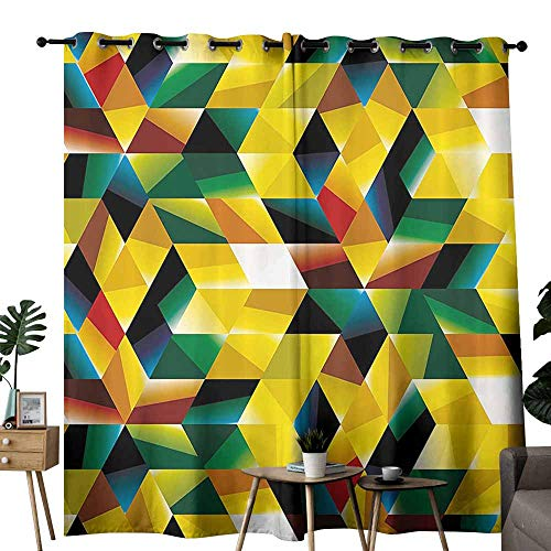 Modern Art Home Decor Polyester Curtain Trippy Dimensional Geometric and Triangles Futuristic Design Wedding Party Home Window Decoration W72 xL84 Yellow Dark Green ()
