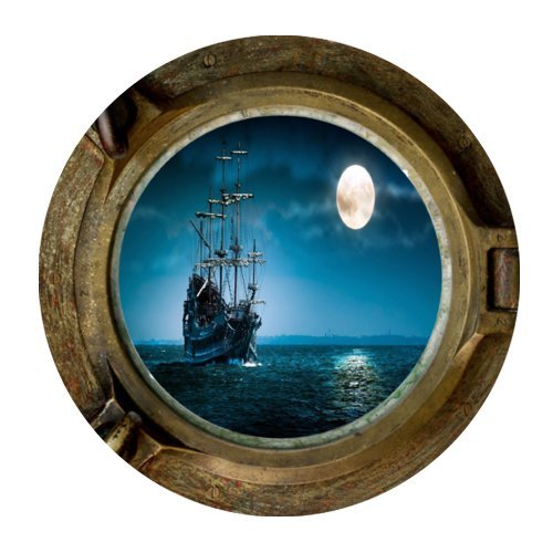 Porthole Cover - Nautical Ship Porthole Rubber Gaming Mouse Pad Cover Round Mouse Pad 7.87