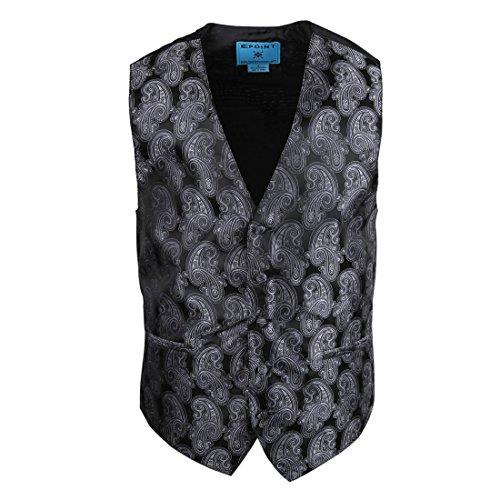 Epoint EGC2B05B-M Grey Waistcoat Paisley Microfiber Black-Back Dress Tuxedo Vest Presents Idea For Halloween