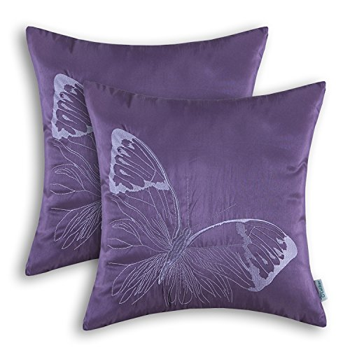 CaliTime Pack of 2 Cushion Covers Throw Pillow Cases Shells for Sofa Couch Home Decoration Big Butterfly Embroidered 18 X 18 inches Purple