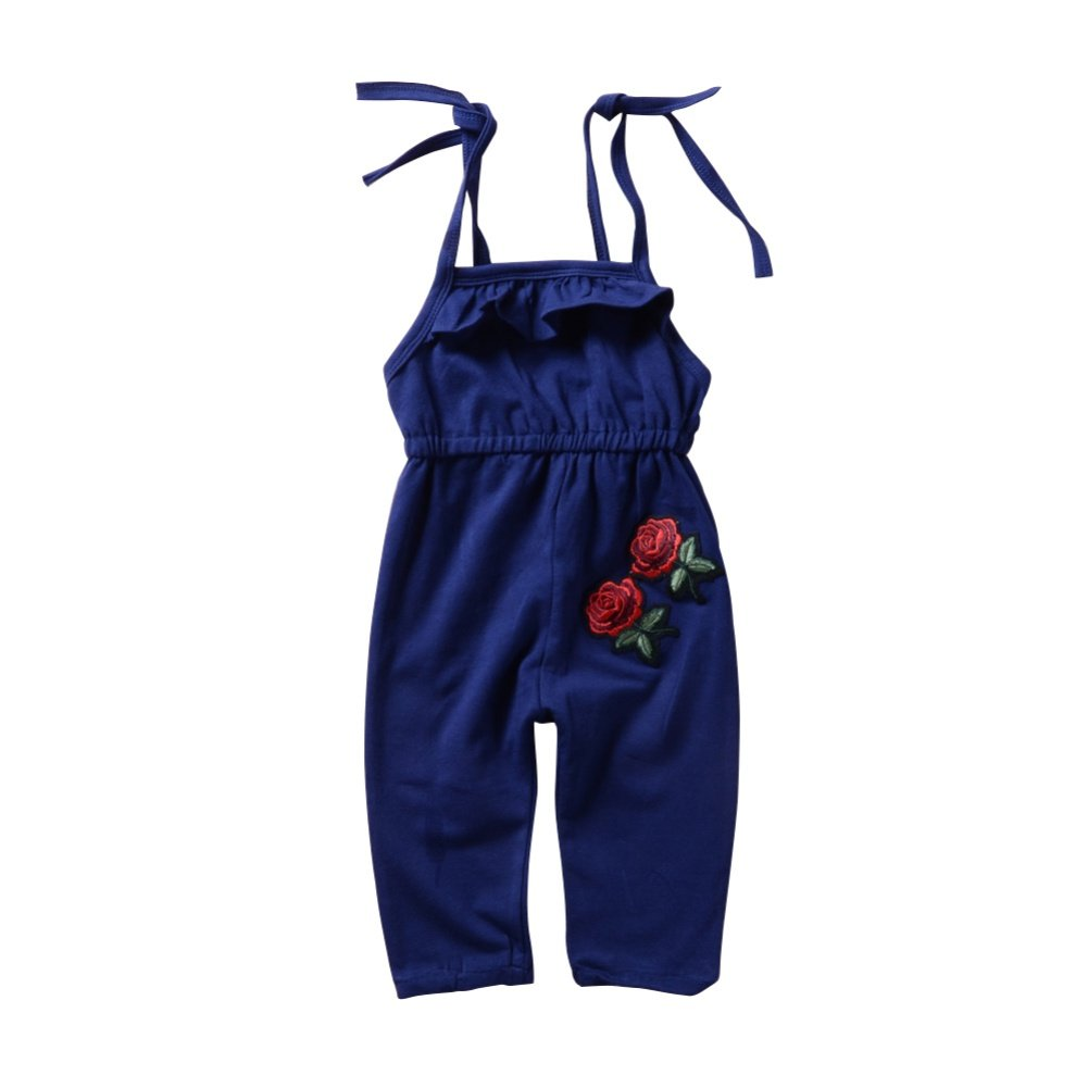 Loveble Girls One-Piece Sleeveless Casual Jumpsuit Flower Trousers Cute Pants Overalls