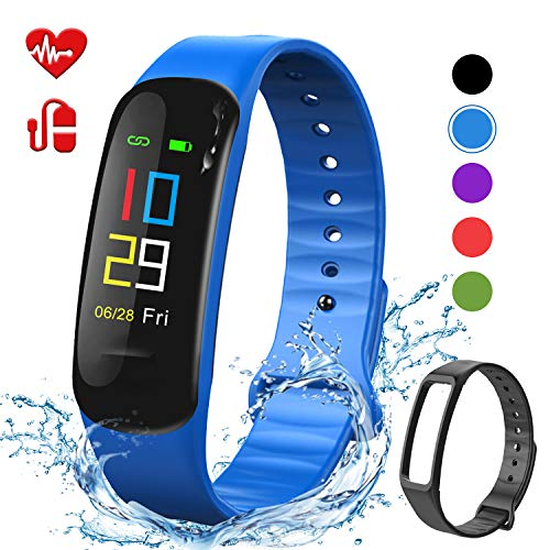 Lintelek Fitness Tracker - Sport Pedometer Color Screen Watch with Heart Rate Blood Pressure Oxygen Monitor, Step and Calorie Counter IP67 Smart Bracelet with Black Strap for Kids Women & Men (Blue)