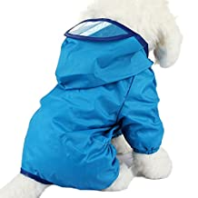 Cideros Pet Dog Raincoats Jacket Hoodie Jumpsuit for Small and Medium Dogs Cats, Snap Button Waterproof (Blue,Size XXL)