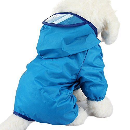 Cideros Pet Dog Raincoats Jacket Hoodie Jumpsuit for Small and Medium Dogs Cats, Snap Button Waterproof (Blue,Size M)