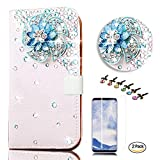 STENES LG V35 ThinQ Case - Stylish - 3D Handmade Crystal Windmill Flowers Design Wallet Credit Card Slots Fold Media Stand Leather Cover with Screen Protector for LG V35 ThinQ - Blue