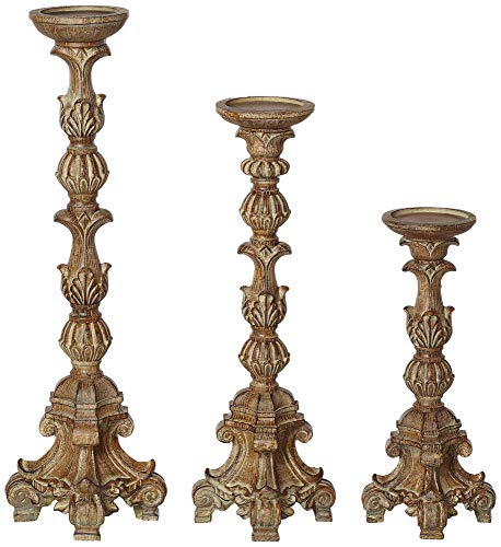 Kensington Hill Exotic Carved Pillar Candle Holders - Set of 3 (Large Holder Candle)