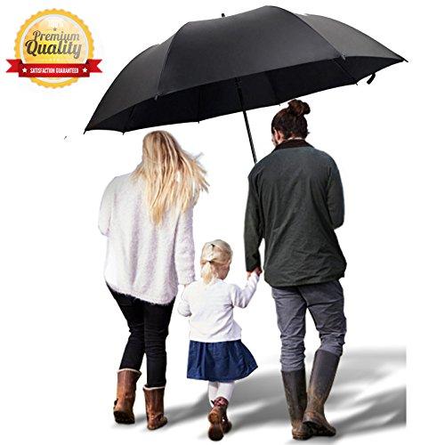 (TEASTAR Big Large Golf Umbrella 60 Inch Automatic Open Extra Large Big Windproof Waterproof Sun Rain Protection Stick Umbrella Teflon Rain Repellant)