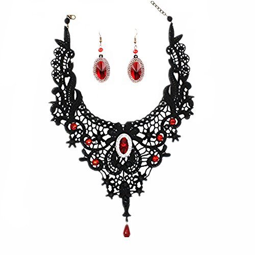 Meiysh Elegant Black Lace Gothic Lolita Red Pendant Choker Necklace Earrings Set (Necklace+Earring)