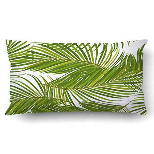 (Emvency King 20x36 Inches Decorative Pillowcases Leaves Of Palm Tree Cotton Polyester Decor Throw Pillow Cover With Hidden Zipper For Bedroom Sofa)