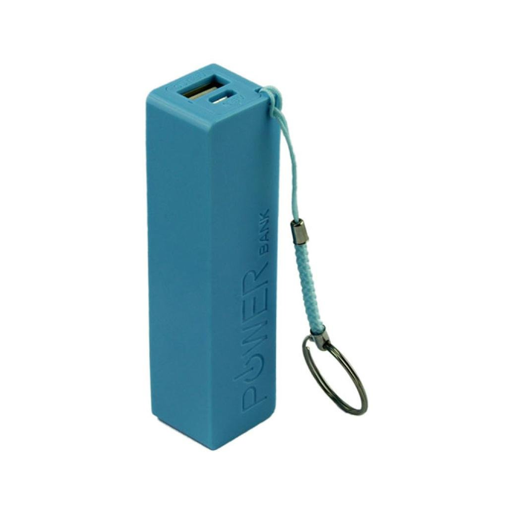 GBSELL Portable Power Bank 18650 External Backup Battery Charger With Key Chain Blue