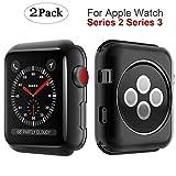watch bumper - MYECOGO Compatible Apple Watch Series 3 Case 42mm [2 Pack] iWatch 3 All-around Soft TPU Protective Bumper Cover Case for 2017 Apple Watch series 3 and Series 2 42mm TPU Black