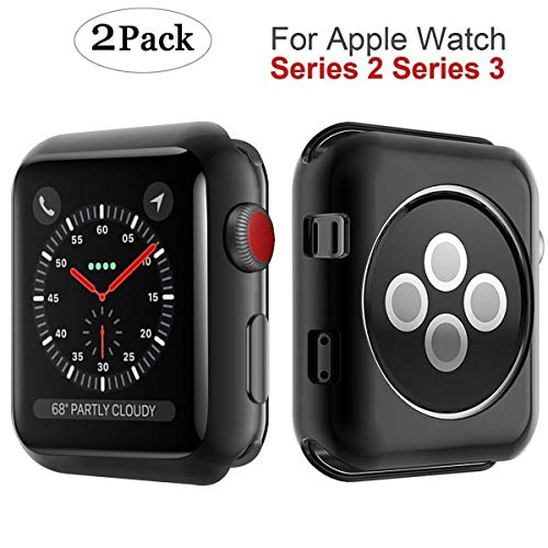 M MYECOGO Compatible Apple Watch Series 3 Case 42mm, [2 Pack] Apple Watch 2 case iWatch 3 All-Around Soft TPU Protective Bumper Cover Case for 2017 Apple Watch Series 3 and Series 2 42mm TPU Black