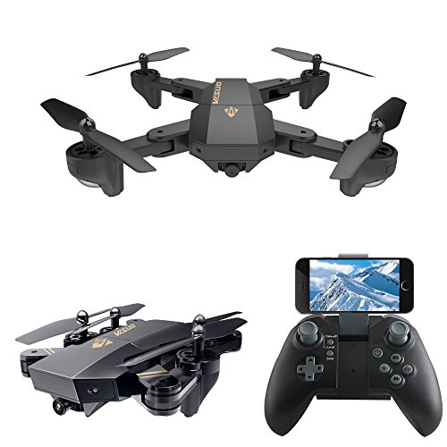 LeaningTech XS809W WiFi FPV Foldable RC Quadcopter with Camera 10 Minutes, 2.4GHz 6-Axis Gyro Remote Control Drone Gravity Sensor Altitude Hold Headless Function by LEANINGTECH