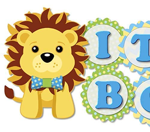 Blue Lion King Baby Shower Banner - IT'S A BOY! - Garland Bunting Party Decoration - Handmade in