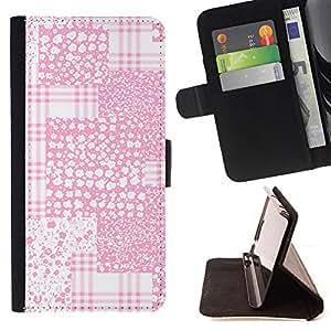 - Pink White Textile Imitation - Estilo PU billetera de cuero del soporte del tir???¡¯????n [solapa de cierre] Cubierta- For LG G2 D800 £¨ Devil Case £©
