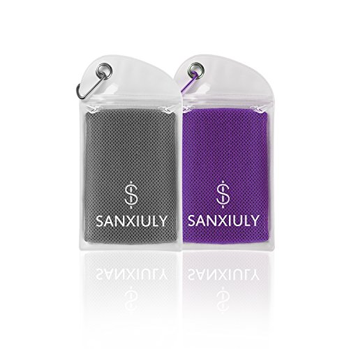 (SANXIULY Cooling Towel Sports, Workout, Fitness, Gym, Yoga, Pilates, Travel, Camping,Hiking,Running,Golf & More Pack of 2)