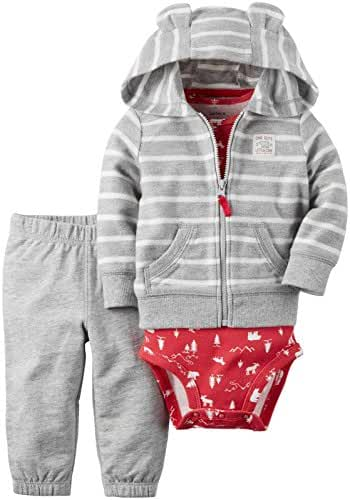 Carter's Baby Boys 3-Piece Striped Hoodie Set