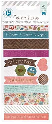 American Crafts 46 Piece Paislee 3 Sheets Cedar Lane Foil Washi Book Tape, Gold/Pink by American Crafts