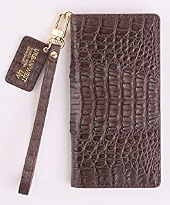 Caiman Leather Handmade Cell Phone Case for Samsung Galaxy Note 8 (Dark Brown)