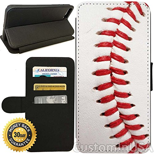 Flip Wallet Case for iPhone 8 (Baseball Design) with Adjustable Stand and 3 Card Holders | Shock Protection | Lightweight | Includes Free Stylus Pen by Innosub
