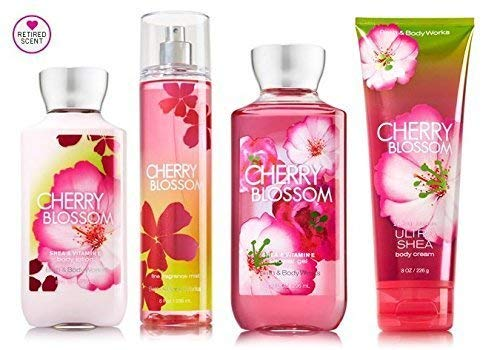 Bath & Body Works Signature Collection Cherry Blossom Gift Set ~ Body Cream ~ Shower Gel ~ Body Lotion & Fragrance Mist. Lot of 4