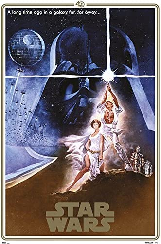 Amazon Com Star Wars Episode Iv A New Hope Movie Poster Print 40th Anniversary Gold Border Edition Regular Style A Size 24 Inches X 36 Inches Posters Prints
