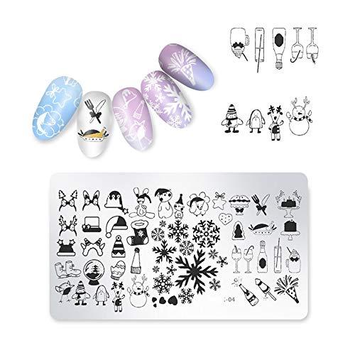 Nail Stamping Template Plate Snowflakes Santa Claus Winter Nail Art Stamp Image Plate,4 ()
