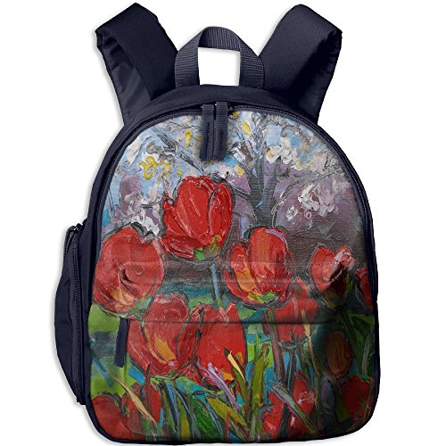 Kalencom Giraffe - Children Pre School Backpack Boy&girl's Spring Tulips With Cherry Blossom Book Bag