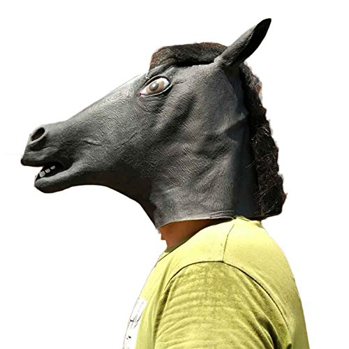 FIRERO 2018 New Novelty Horse Latex Animal Head Mask For Halloween Costume Party (D) -