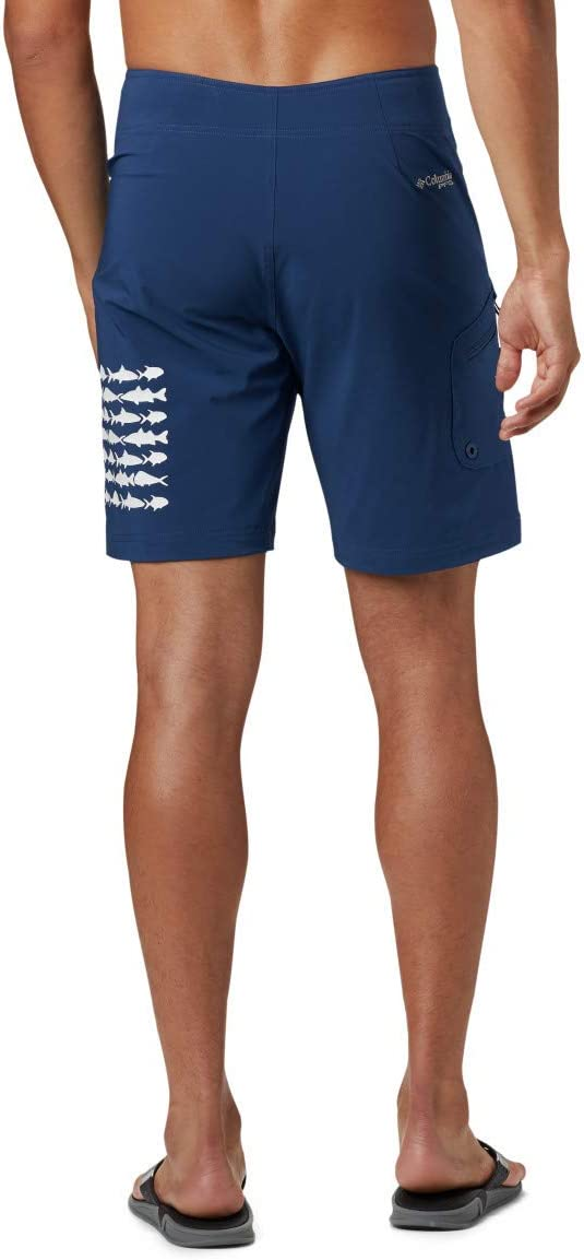 Columbia PFG Fish Series Board Short - PFG Fish SeriesTM Short de Bain - Homme Drapeau de Poisson Blanc/Carbone.