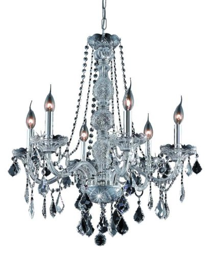 Clear Table Verona (Elegant Lighting 7856D24C/RC Verona 28-Inch High 6-Light Chandelier, Chrome Finish with Crystal (Clear) Royal Cut RC Crystal)
