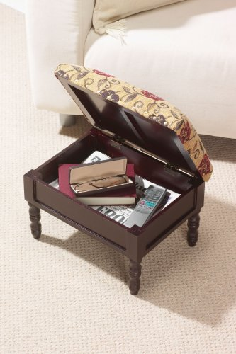 Greenhurst Storage Footstool in a Traditional Stained Mahogany Wooden Frame in a Floral Design by Greenhurst