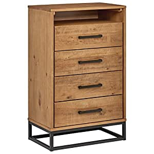 "Rivet Eastport Industrial Dresser, 30"" W, Oak Finish"