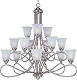 Maxim 11045MRSN Nova 15-Light Chandelier, Satin Nickel Finish, Marble Glass, MB Incandescent Incandescent Bulb , 60W Max., Dry Safety Rating, Standard Dimmable, Opal Glass Shade Material, Rated Lumens For Sale