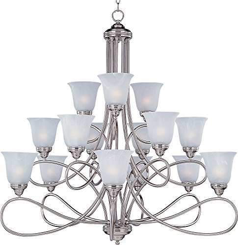Satin Nickel Finish Chandeliers (Maxim 11045MRSN Nova 15-Light Chandelier, Satin Nickel Finish, Marble Glass, MB Incandescent Incandescent Bulb , 60W Max., Dry Safety Rating, Standard Dimmable, Opal Glass Shade Material, Rated Lumens)
