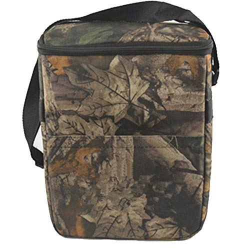 HMQINYI Insulated lunch Box for man Outdoor Camo Lunch Bag For boys Picnic Food Storage Box Cooler Bag (9L Leaf camouflage) (Camo Box Insulated Lunch)