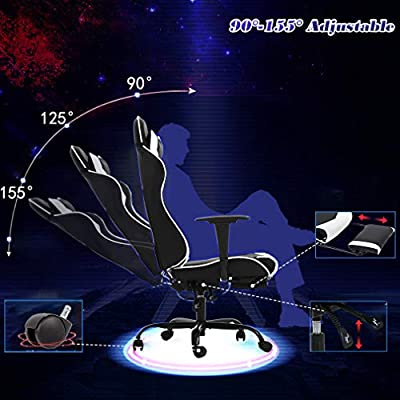 Fantastic Racing Gaming Chair High Back Pu Leather Home Office Chair Desk Computer Chair Ergonomic Executive Swivel Rolling Chair With Arms Lumbar Support For Ibusinesslaw Wood Chair Design Ideas Ibusinesslaworg