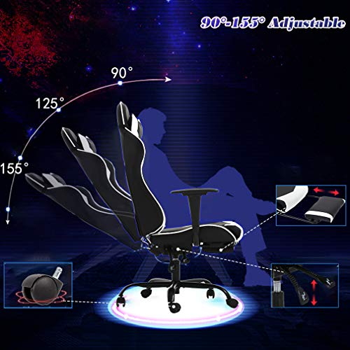 BestOffice Office Chair High Back Racing with Footrest and Headrest