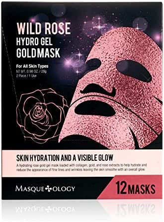 Masqueology - Wild Rose Gold Hydro-Gel Mask | Collagen and Rose Facial Skincare Treatment (12 Pack)