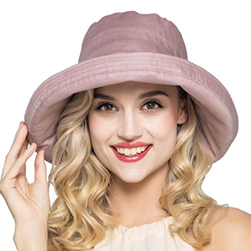 Summer Cotton Linen Packable Bucket Sun Hats for Women Fold-up Boonie Fishing Hat (Purple)