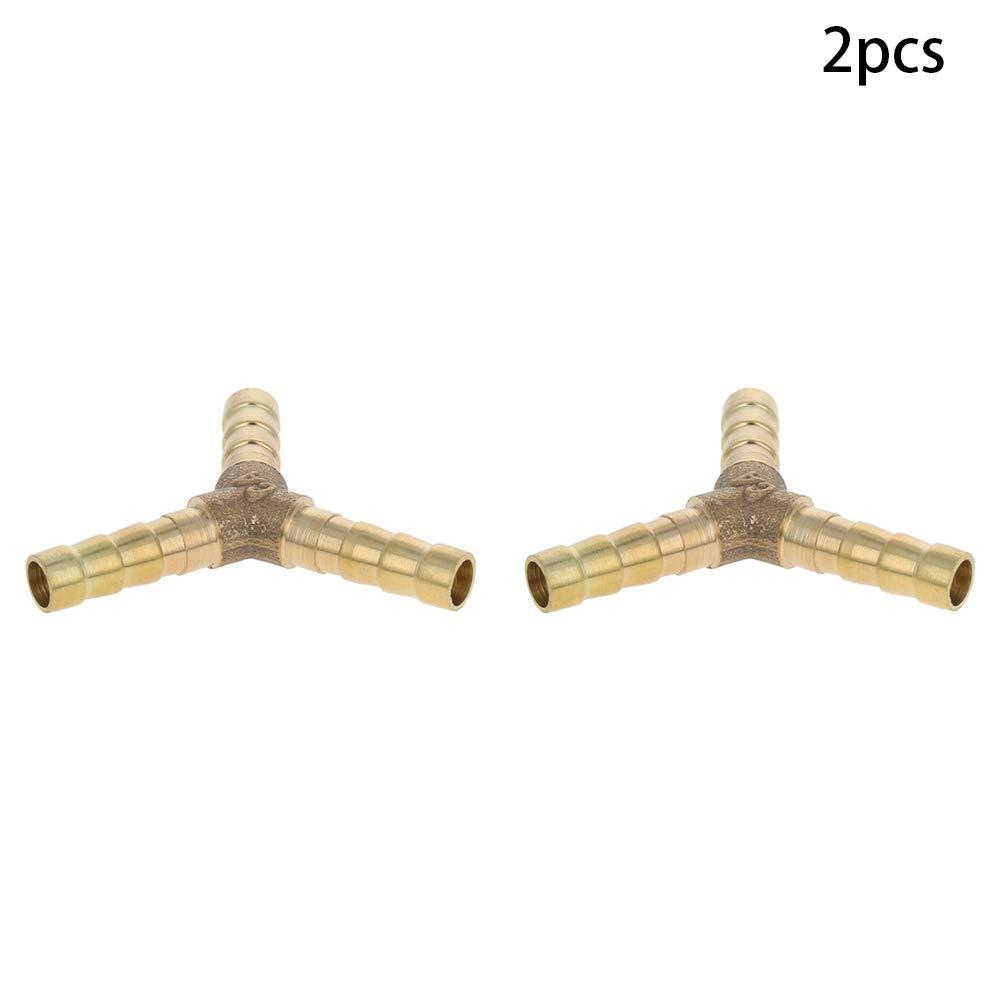 Othmro Hose Barb 5PCS 8mm Hose Y Shape 3 Ways Air Gas Brass Barb Fitting Connector Gold Tone