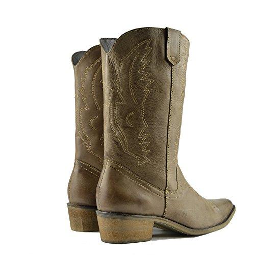 Cowboy Stiefel Leder Damen Damen Kalb Spitz Zehen Stiefel Breite Western vqE661