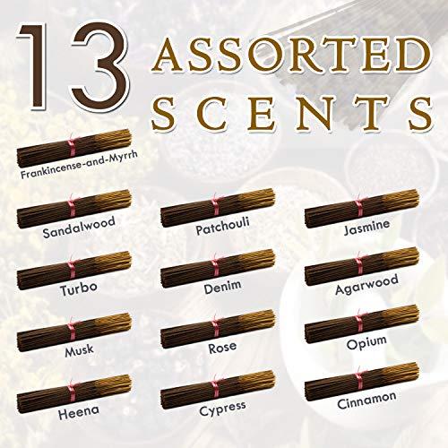 Exclusive 13-assorted-scents-Frankincense-and-Myrrh-Sandalwood-Patchouli-Jasmine-Turbo-Denim-Agarwood-Musk-Rose-Opium-Heena-Cypress-Cinnamon 100%-Natural-Handmade-Incense-Sticks, 20 Sticks Each