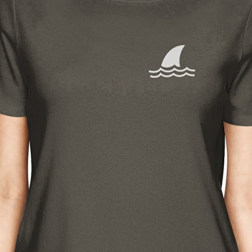 Femme 365 Shark Dark Shirt shirt Printing T Grey Courtes Manches Mini XnWP4Bwqn